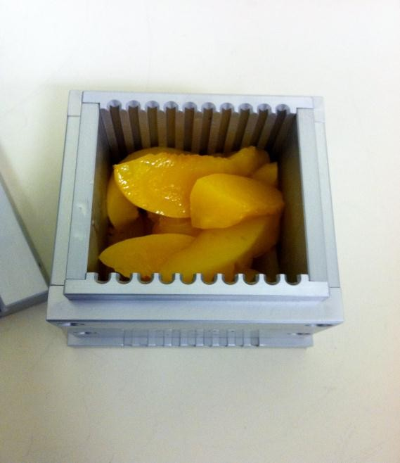 canned peaches firmness can be measured by Kramer shear cell